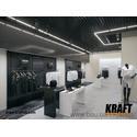 Система освещения KRAFT G-Led и потолок из пирамидального грильято в интерьере магазина