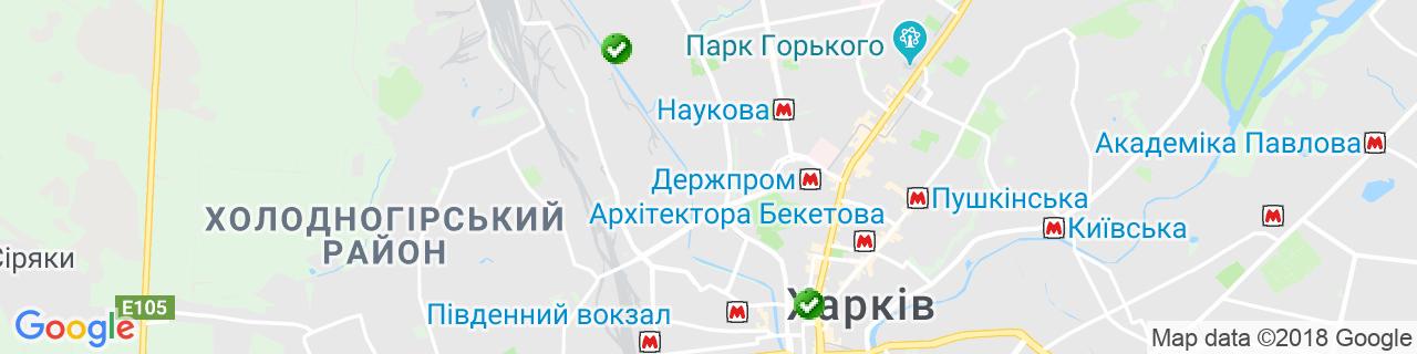 Карта об'єктів компанії Сапсан