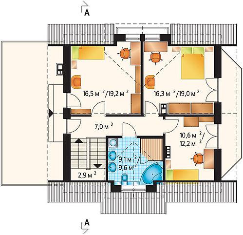 309 проект 3034 план мансардного этажа